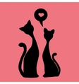black silhouettes of Two lovely kittens vector image