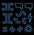 blue neon 3d arrows set on black background vector image vector image