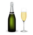 bottle and glass of champagne vector image vector image