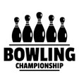 bowling championship logo simple style vector image