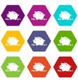 broken piggy bank icons set 9 vector image