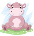 cartoon cute bahippo sitting in grass vector image vector image