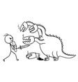 cartoon of man fighting with dragon vector image