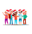 children in christmas caps singing carol vector image
