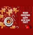 christmas background gingerbread cookies candy vector image