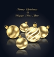 Christmas Golden Balls with Reflection on Black vector image