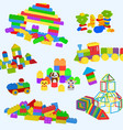 construction toys pattern lego wooden bricks and vector image