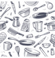 cooking utensils seamless pattern sketch kitchen vector image