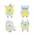 cute cartoon owls hand drawn set vector image vector image