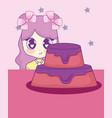 cute kawaii girl with cake birthday card vector image