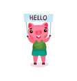 cute pig character holding banner with hello text vector image vector image
