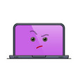 distrustful laptop computer isolated emoticon vector image vector image