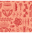 doodle decorative seamless background with flowers vector image vector image