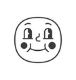 embarrassed smile fase black and white emoji eps vector image vector image
