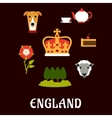 England traditional symbols flat icons vector image