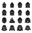 face of Buddha at simple black style on white vector image vector image