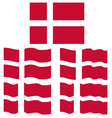 Flat and Waving Flag of Denmark vector image vector image