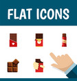 flat icon chocolate set of cocoa sweet shaped vector image