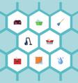 flat icons laundry carpet vacuuming washcloth vector image vector image