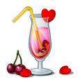 glass cocktail with straw hearts and cherry vector image