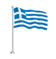 greek flag isolated wave flag greece country vector image vector image