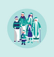 group of family with clothes christmas vector image vector image