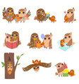 happy family owls set father mother and their vector image vector image