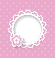 Lacy frame on the pink background vector image vector image