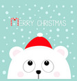 merry christmas candy cane polar white little vector image vector image