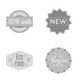 percentage sale new eco food veganlabelset vector image vector image