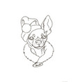 portrait of dog in santa hat vector image