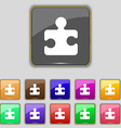 Puzzle piece icon sign Set with eleven colored vector image