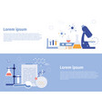 research laboratory with equipment banner doing vector image