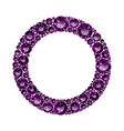 round frame made of realistic purple amethysts vector image