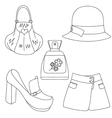 Set of outlined footwear handbag skirt hat perfume vector image