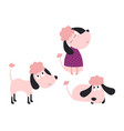 set with cute poodles vector image vector image