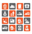 Silhouette Garbage and rubbish icons vector image vector image