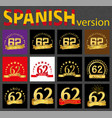 spanish set of number sixty-two 62 years vector image vector image