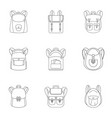student backpack icon set outline style vector image vector image