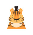 tiger in a black top hat funny face cute cartoon vector image vector image