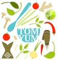 Tom Yum Soup Food Set vector image