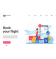 travel business technology to book flight landing vector image vector image