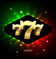 triple sevens casino jackpot banner lucky numbers vector image vector image