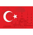 Turkey flag with Blue mosque vector image vector image