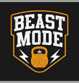 typography beast mode with kettlebell vector image