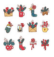winternew year christmas colored icons set many vector image vector image