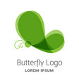 colorful green butterfly logo template vector image
