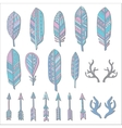 Hand drawn set with doodle antlers feathers vector image