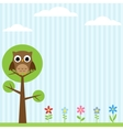 owl on the tree background vector image