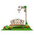 wooden bench in the garden vector image